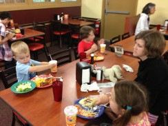 Dinner at Golden Corral. Mom and Dad held off and brought Qdoba back to the hotel instead.