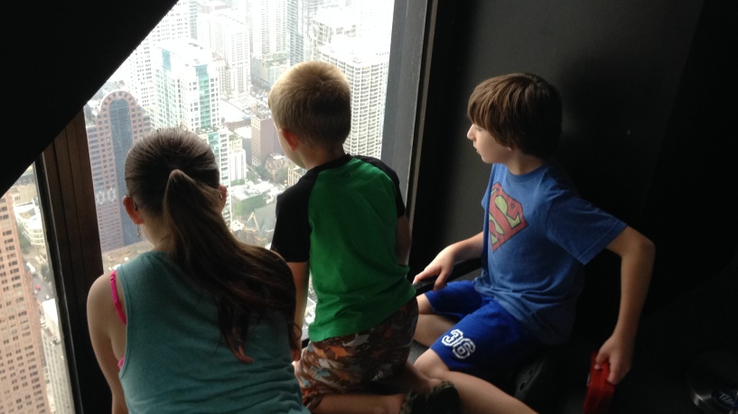 Enjoying the view from atop the John Hancock building