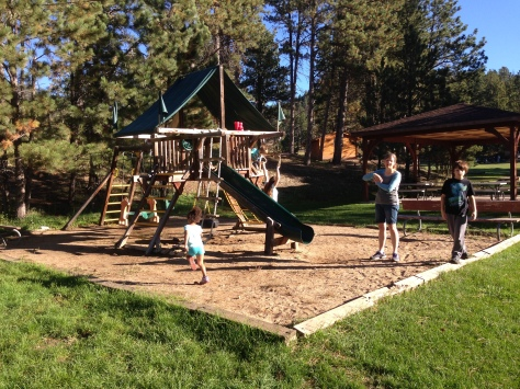 Playing at the park before departing Horse Thief Campground
