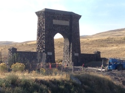 The Northern Entrance to Yellowstone. Dad was hoping for a family photo but it was all under construction. (Boo!)