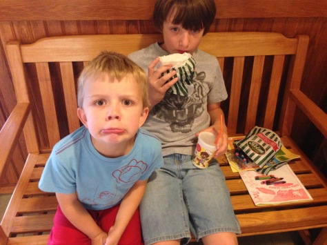 EB makes a funny face while waiting to leave Perkins