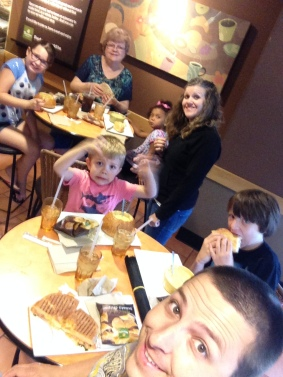 Family pic at Panera for lunch
