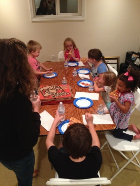 Kids table for our pizza dinner