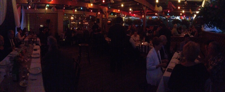Panorama of the rooftop deck where we ate