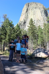 Family photo taken on the trail at Devil's Tower