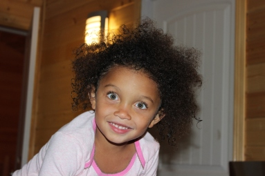 CJ combed her own hair after the shower