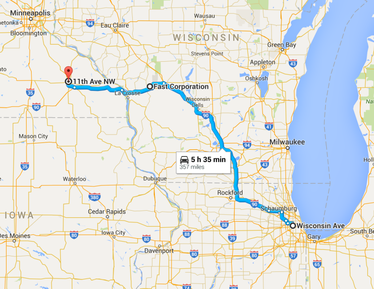Our route from Chicago to Rochester (it took a bit longer than what it says!)