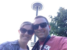 Nicole and Ben under the Space Needle