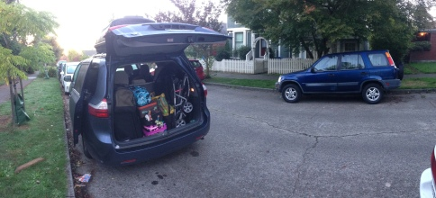 Packing the van early to leave Seattle