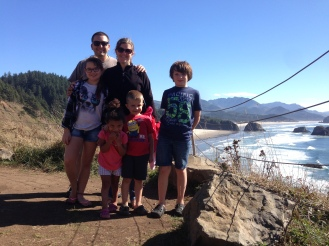 Family picture at Ecola State Park