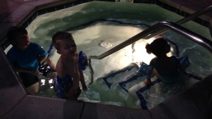 Late night dip in the outdoor hot tub.
