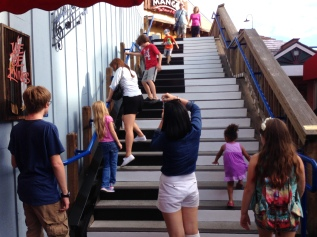 Playing on musical stairs at Pier 39