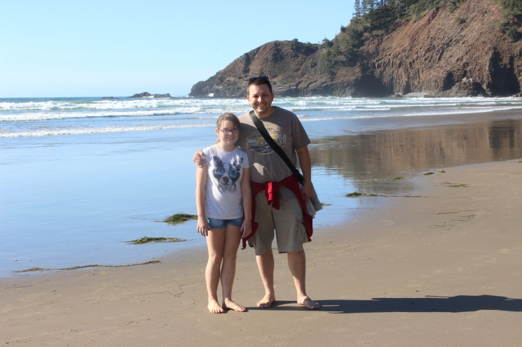 Dad and EL at Ecola State Park