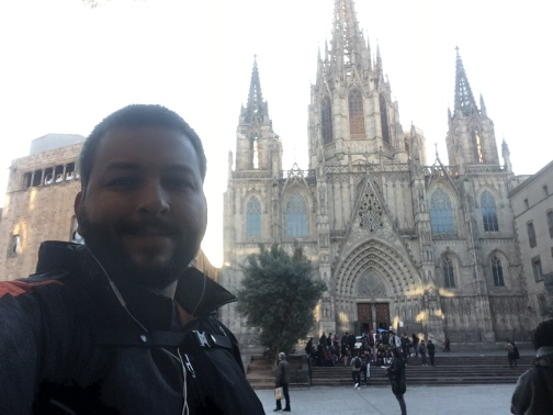 Outside the Barcelona Cathedral